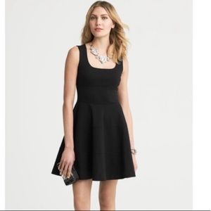 Banana Republic Black Ponte Fit and Flare Dress